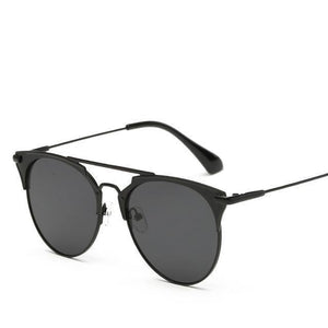 Bad Bones Java Sunglasses Black Luxury Vintage Round Mirrored Sunglasses