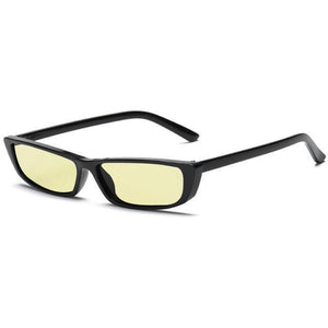 Bad Bones Java Sunglasses Black Yellow Skinny Rectangle Vintage Sunglasses