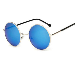 Bad Bones Java Sunglasses Blue Round Mirrored Sunglasses