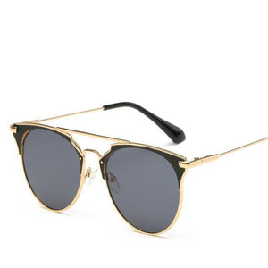 Bad Bones Java Sunglasses Gold Black Luxury Vintage Round Mirrored Sunglasses