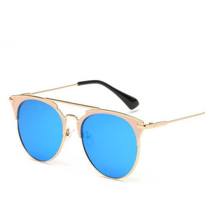 Bad Bones Java Sunglasses Gold Blue Luxury Vintage Round Mirrored Sunglasses