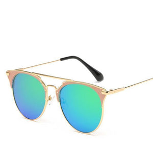 Bad Bones Java Sunglasses Gold Green Luxury Vintage Round Mirrored Sunglasses