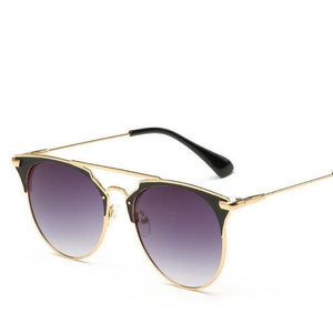 Bad Bones Java Sunglasses Gold Grey Luxury Vintage Round Mirrored Sunglasses
