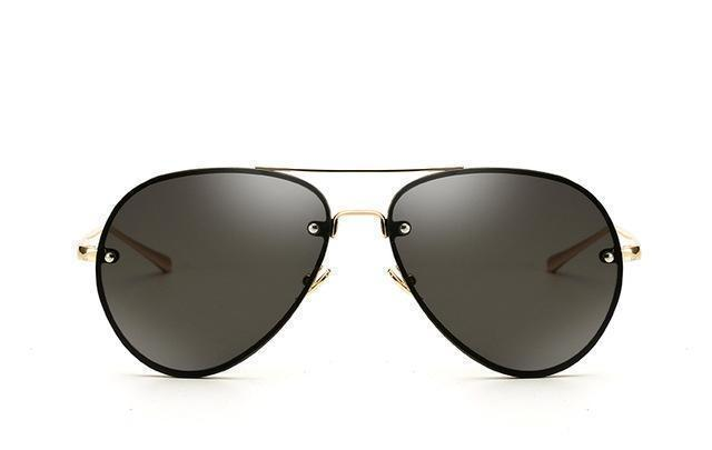 Bad Bones Java Sunglasses Gold Grey Rimless Aviator Sunglasses