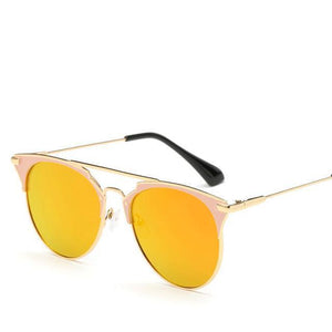 Bad Bones Java Sunglasses Gold Red Luxury Vintage Round Mirrored Sunglasses