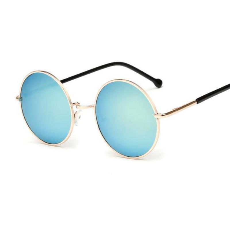 Bad Bones Java Sunglasses Gold Round Mirrored Sunglasses