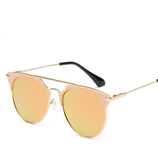 Bad Bones Java Sunglasses Pink Luxury Vintage Round Mirrored Sunglasses