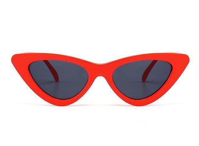 Bad Bones Java Sunglasses Red Black Slim Vintage Cat Eye Sunglasses
