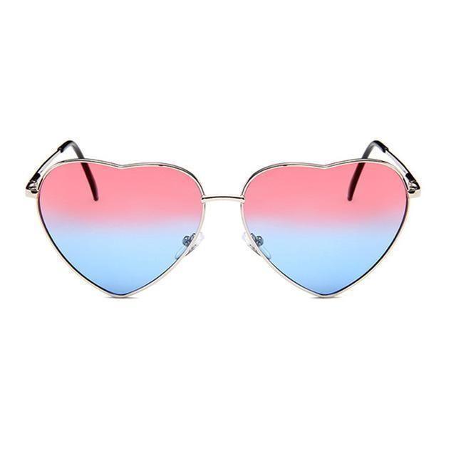 Bad Bones Java Sunglasses Silver Red Blue Retro Heart Shaped Sunglasses