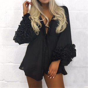 Bad Bones Java Swimwear Black / L Puff Bikini Cover-Up Dress