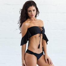 Bad Bones Java Swimwear Black / S Off Shoulder String Bikini Swimsuit