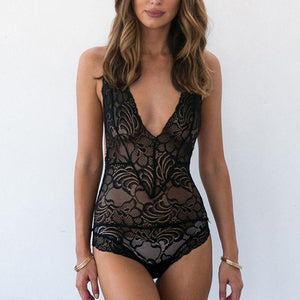 Bad Bones Java Swimwear Black / S One Piece Deep V Lace Swimsuit