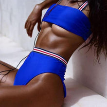Bad Bones Java Swimwear Blue / S Solid Striped High Waist Bikini Swimsuit