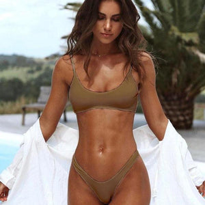 Bad Bones Java Swimwear Brown / S Thong Bikini Swimsuit