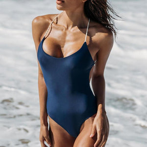 Bad Bones Java Swimwear Dark Blue / S One Piece Roped Back Swimsuit
