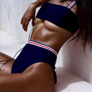 Bad Bones Java Swimwear Navy Blue / S Solid Striped High Waist Bikini Swimsuit