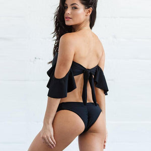 Bad Bones Java Swimwear Off Shoulder String Bikini Swimsuit