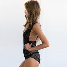 Bad Bones Java Swimwear One Piece Deep V Lace Swimsuit