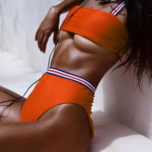 Bad Bones Java Swimwear Orange / S Solid Striped High Waist Bikini Swimsuit