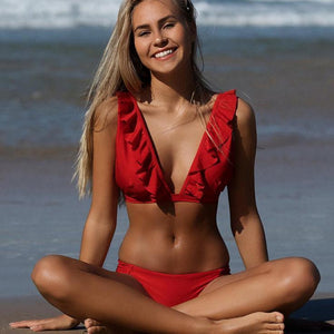Bad Bones Java Swimwear Red / S Frill Deep V Bikini Swimsuit