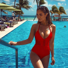 Bad Bones Java Swimwear Red / S One Piece Hollow Carved Swimsuit