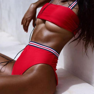 Bad Bones Java Swimwear Red / S Solid Striped High Waist Bikini Swimsuit