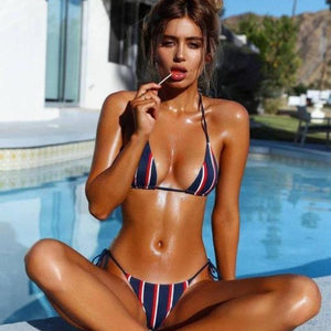 Bad Bones Java Swimwear S Stripe Bikini Swimsuit