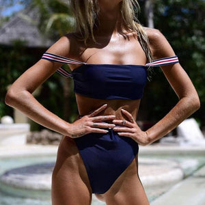 Bad Bones Java Swimwear Solid Striped High Waist Bikini Swimsuit