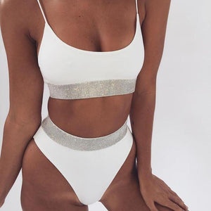 Bad Bones Java Swimwear White #1 / S Slim Sparkling Bikini Swimsuit