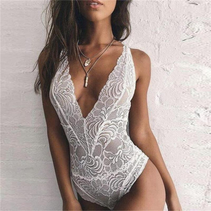 Bad Bones Java Swimwear White / S One Piece Deep V Lace Swimsuit