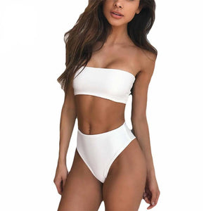Bad Bones Java Swimwear White / S Solid Strapless High Waist Swimsuit