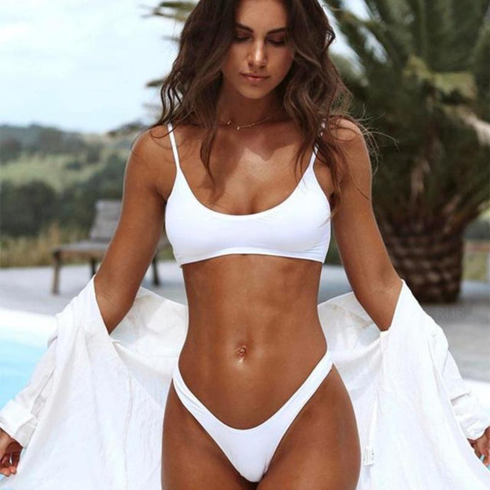 Bad Bones Java Swimwear White / S Thong Bikini Swimsuit