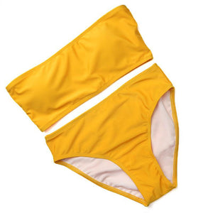 Bad Bones Java Swimwear Yellow / S Solid Strapless High Waist Swimsuit