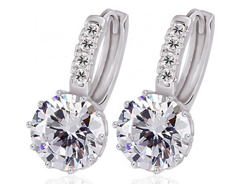 23090 gemstone crystal hoop earrings for women