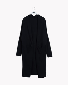 KNIT SPLIT LONG CARDIGAN, Black, Adults