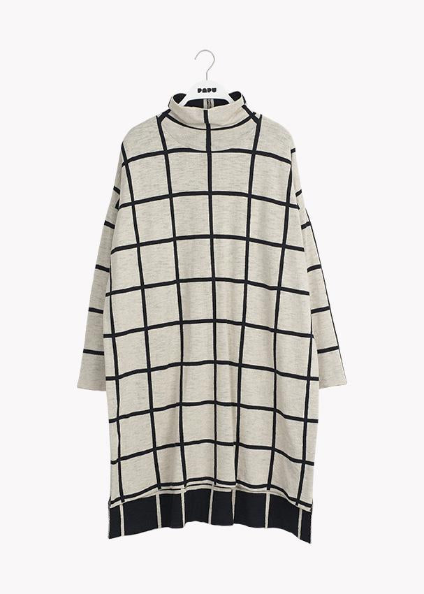 KNIT COSY DRESS, Giant Grid, Adults