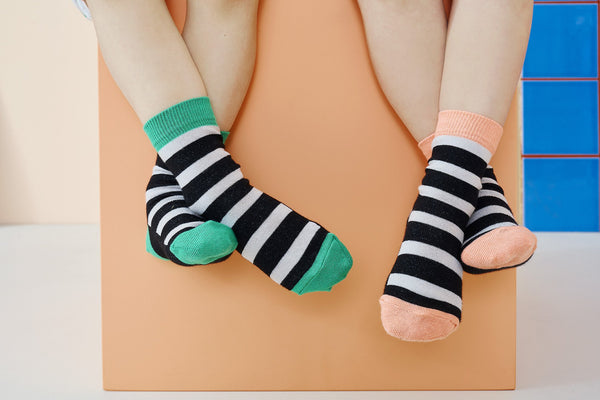 SOCKS, Double Pack, Cantaloupe/Black/Grey