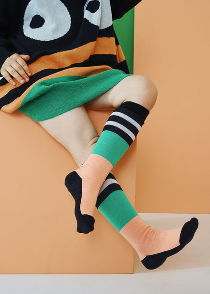 KNEE HIGH, Cantaloupe/Green/Black/Grey
