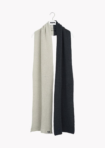 PATENT OBLONG SCARF, Black/Cream Melange, Adults