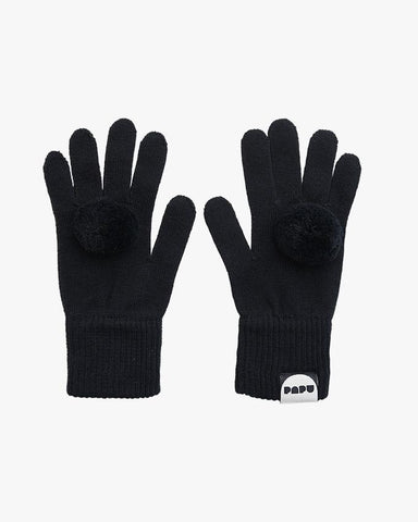 POM POM GLOVES, Black