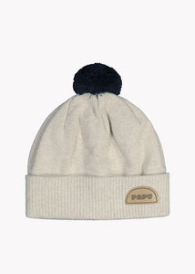 KNIT POM POM BEANIE, Cream Melange/Black, Adults