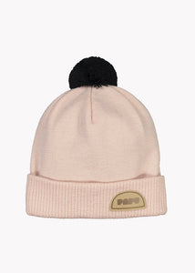 POM POM WOOL BEANIE, Powder Peach/Black, Adults