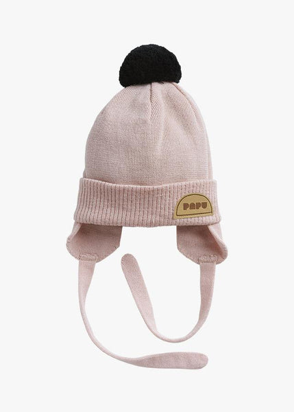 POM POM WOOL BEANIE, Powder Peach/Black, BABY