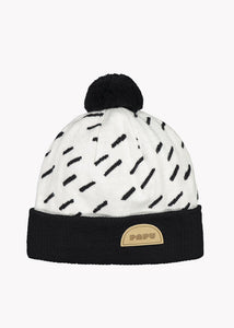 POM POM WOOL BEANIE, Windy Day, Cream/Black, Adults
