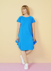KANTO SHORT SLEEVE DRESS, Sky blue, Adults