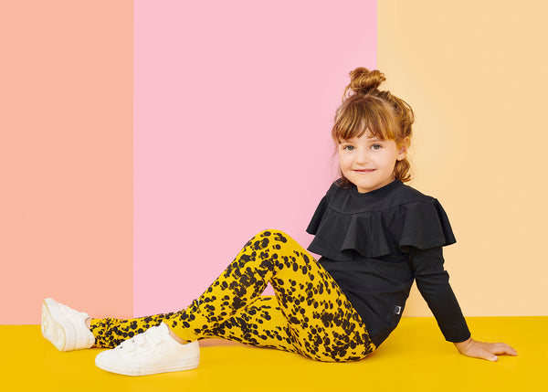 FOLD LEGGINGS, MINI BALLOON, JERSEY YELLOW, BLACK
