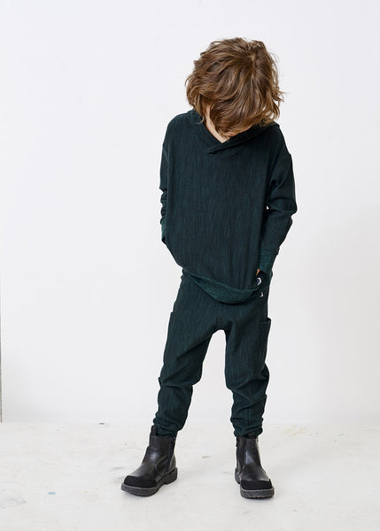 THIGH POCKET PANTS, School Green, Tweed Effect