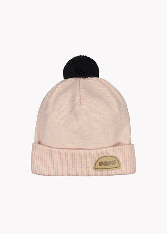 POM POM WOOL BEANIE, Powder Peach/Black