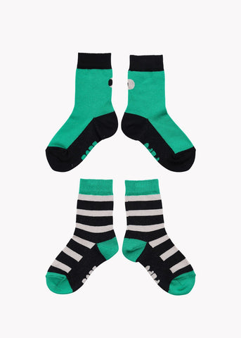 SOCKS, Double Pack, Green/Black/Grey