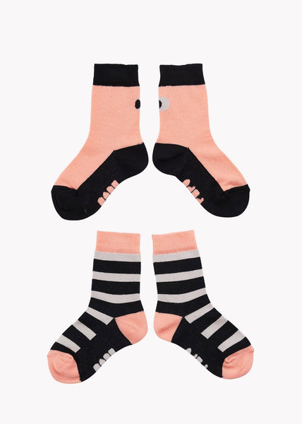 SOCKS, Double Pack, Cantaloupe/Black/Grey, Adults